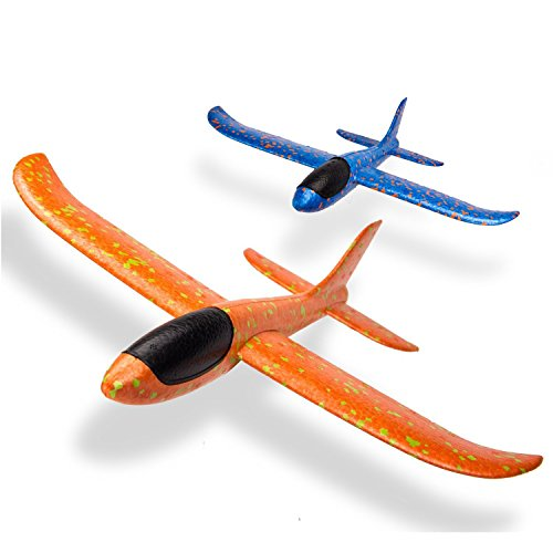 2pcs 18.5 inch Airplane, Manual Throwing, Flying Aircraft Fun, Challenging, Outdoor Sports Toy for Kids Children Boys Girls Women Men, Model Foam Airplane Flying Glider Inertia Plane, Random Color by Amyzor