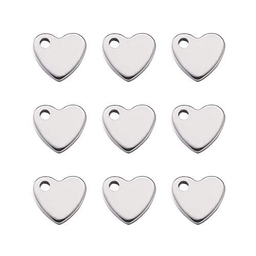 Fashewelry Stainless Steel Heart Shape Charms Pendants for Crafting Jewelry Findings Accessory DIY Necklace Bracelet Making, 10x9x1.5mm (Heart 1, ()