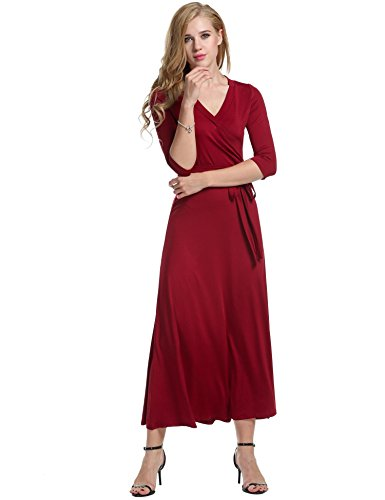 Meaneor Rojo Floral 4 V Noche Fiesta Mujeres 3 Vestido Casual Largo Vino Cuello Manga Elegante rqnCgrwaO