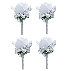 MOJUN Groom Groomsman Rose Boutonniere Buttonholes Corsage Rose Flowers Brooch for Wedding Prom Party, Pack of 4, White 38