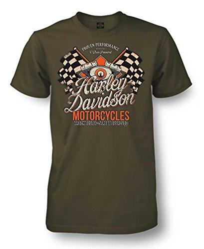 Harley Davidson Racing - Harley-Davidson Men's Champion Racing Short Sleeve T-Shirt, Fatigue Green (2XL)