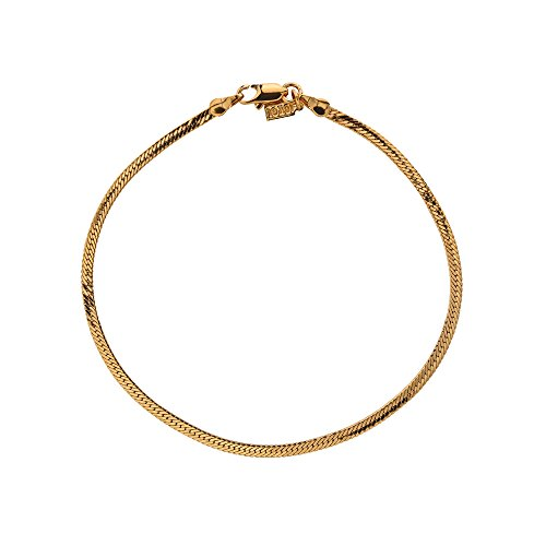 Yellow Gold Plated 3mm Herringbone Anklet or Ankle Bracelet Chain, 11