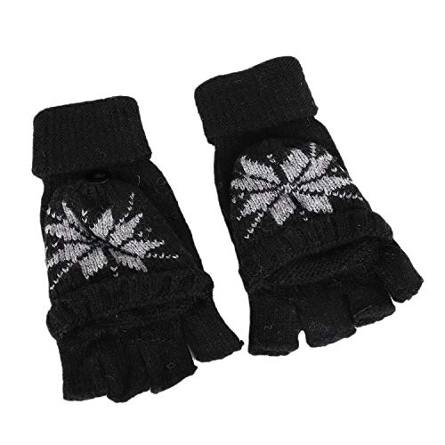Womens Snowflake Convertible Gloves - Teens Knitted Convertible Flip Top Gloves Mittens Girls Winter Thermal Fingerless Texting Gloves Hand Warmer Snowflake Design