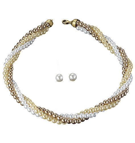 Avon Julie Gift Set - Pearl Cluster Necklace & Earrings - White, Ivory & Bronze