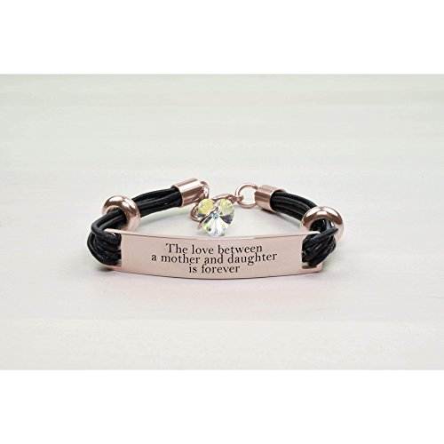 Pink Box Genuine Leather Id Bracelet With Crystals From Swarovski - Love Between Mother - Rose Gold -