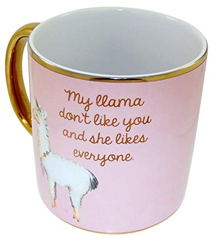 Myxx Pink and Gold My Llama Don't Like You Ceramic Coffee Mug, 22 Ounce
