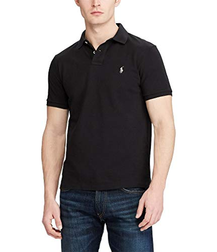 Polo Ralph Lauren Mens Custom Fit Mesh Polo Shirt (Black, X-Large)