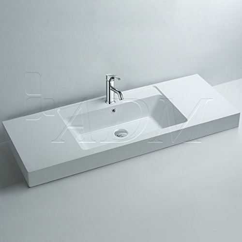 ADM Bathroom Design Glossy White Stone Resin Sink DW-140