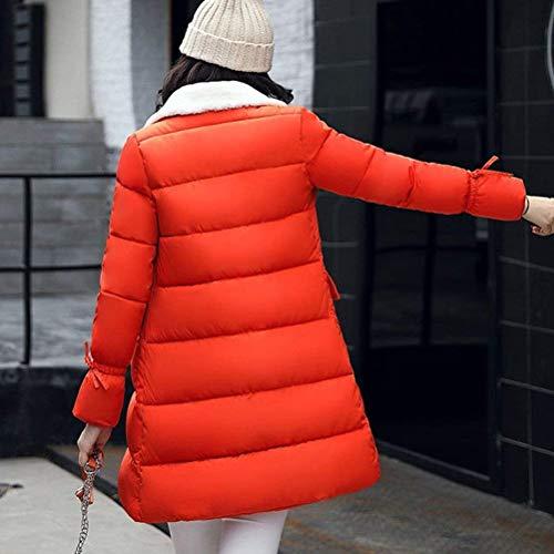 Manga Sólidos Día Outdoor Parka Caliente Amarillo Acolchado Espesar Largo Colores Otoño Largas Transición Outerwear Casuales Mujer De Invierno Elegantes Abrigo n7vq1Uw