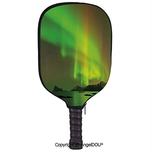 AngelDOU Northern Lights Waterproof Zipper Single Pickleball Paddle Racket Cover Case Magical Enchanted Universe Sky with Reflections Tranquil Scenery for for Most Rackets.Lime and Reseda -