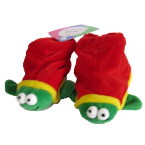 Russ Berrie Unisex Rojo y Verde Tortuga Botitas de Baby Boy Girl 6–