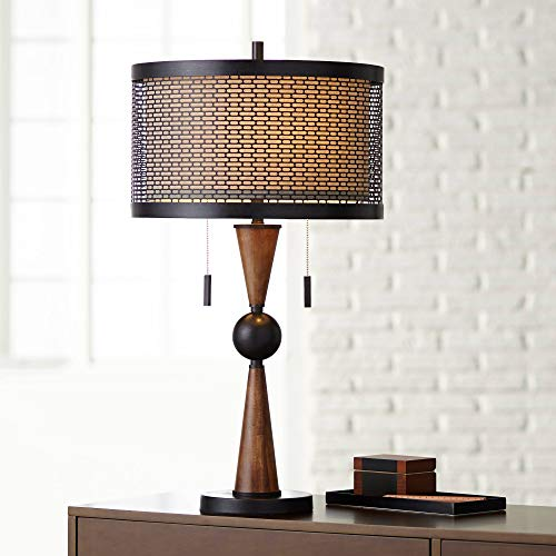 Hunter Mid Century Modern Table Lamp Wood Bronze Metal Shade for Living Room Family Bedroom Bedside Nightstand Office - Franklin Iron Works Antique Cherry Finish Table Lamps