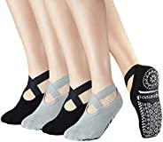 Yoga Pilate Barre Non Skid Anti Slip Socks Grip Socks with Strap Sticky for Women Ladies US 5-9,4 Pack