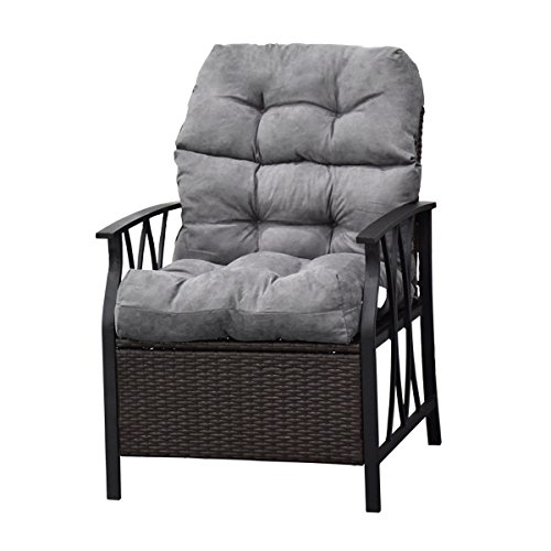 Cushions Glider Chairs (Giantex Patio High Back Chair Cushion Tufted Pillow Indoor Outdoor Spring/Summer Seasonal Swing Glider Seat Replacement Cushions (44'' Gray))