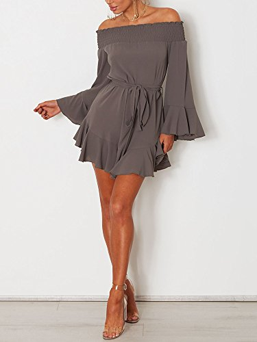 88a23eebade DUBACH Womens Off Shoulder Flared Drop Hem Tied Casual Dress. by dubach