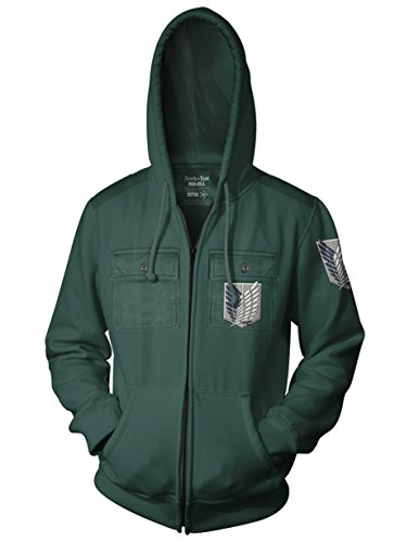 Ripple Junction Attack on Titan Adult Survey Corp Chest Pocket Fleece Zip Hoodie MD -