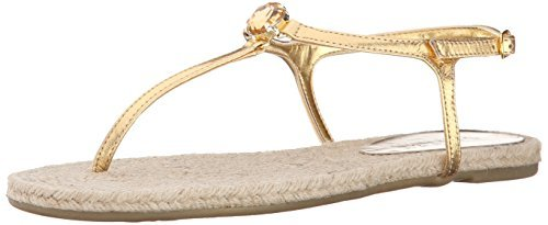 Lauren Ralph Lauren Women's Jolene Sandal, RL Gold Metallic Kidskin, 6 B US (Ralph Lauren Gold Sandals)