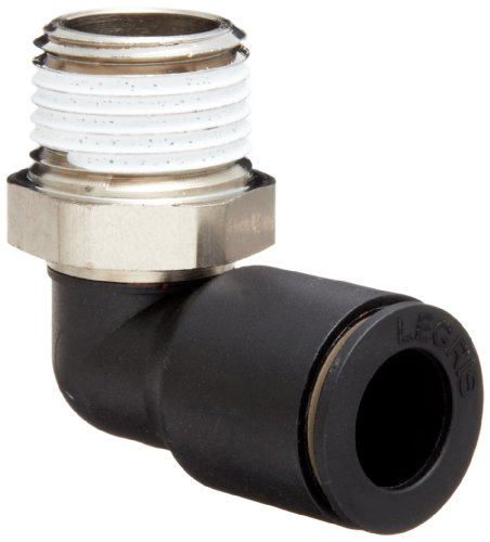 "Legris 3109 62 22 Nylon & Nickel-Plated Brass Push-to-Connect Fitting, 90 Degree Elbow, 1/2"" Tube OD x 1/2"" NPT Male"