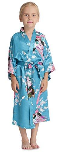 Aibrou Girls' Peacock Satin Kimono Robe Bathrobe Nightgown For Party Wedding