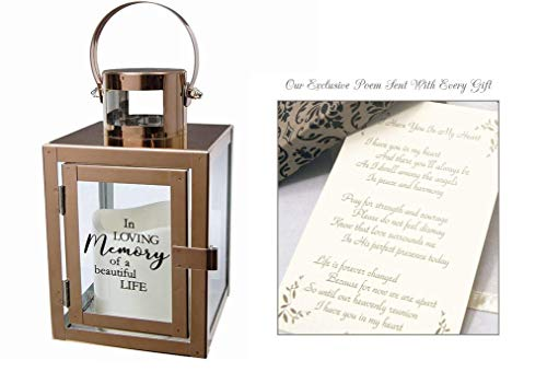 Sympathy Candle Lantern Gifts with Message and Flameless LED...