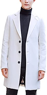 Raylans Men's Solid Trench Coat Long Cotton Blend Slim Fit Jacket Over