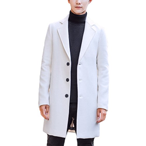 Raylans Men's Solid Trench Coat Long Cotton Blend Slim Fit Jacket Overcoat Beige White