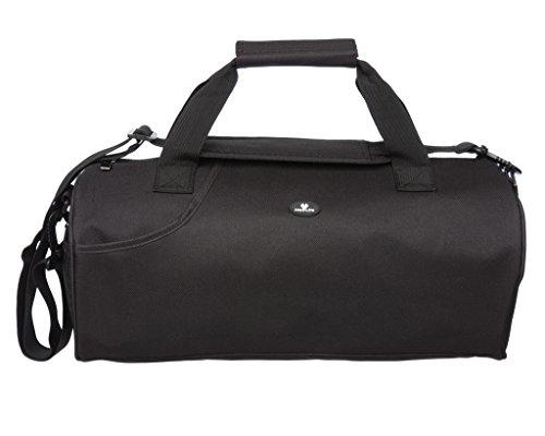 Case4Life Lightweight Black Water Resistant Duffle Gym Bag + Padded Removable Shoulder Strap   Lifetime Warranty