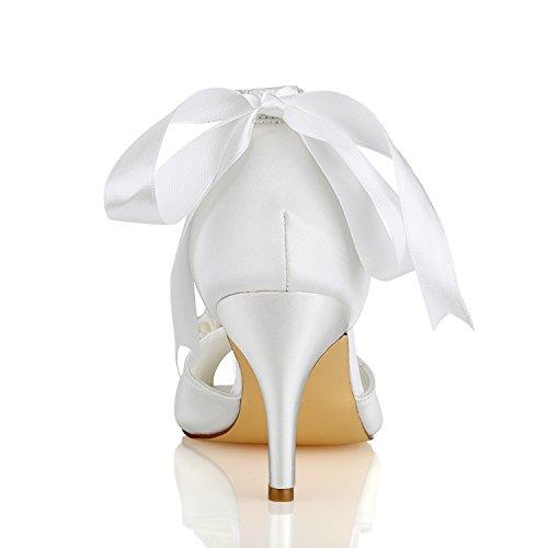 KUKIE Tacones de Dama Best Aplique Rhinestone boda mujeres noche Verano Satén Novia Suela Peep Sandalias Primavera CM de de honor para goma 4U® para 8 toe Zapatos Perla de Zapatos banquetes altos qUx7EtHw