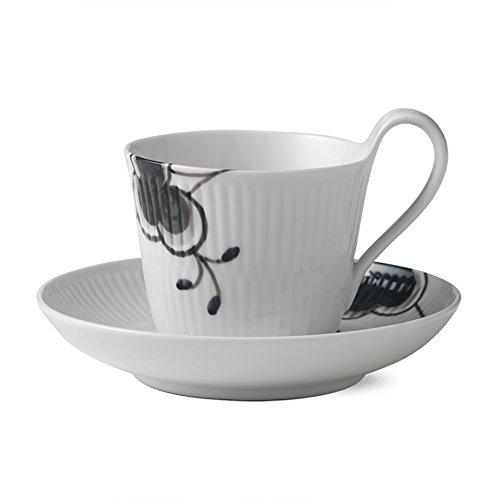 Black Fluted Mega 8.5 oz. High Handle Cup and Saucer ()