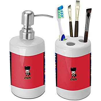 superhero bathroom sets. Superhero Bathroom Accessories Set  Ceramic Personalized Amazon com