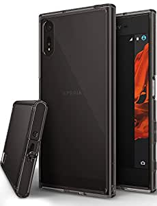 Xperia XZ / XZs Case, Ringke [FUSION] Streamlined Fit [Smoke Black][Attached Dust Cap] Ultimate Durable PC Back Flexible TPU Bumper Cover [Impact Resistant/Drop Protection] For Sony Xperia XZs / XZ