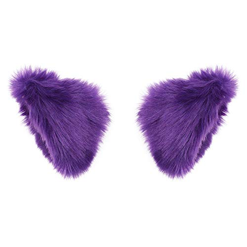 BAOBAO Cat Fox Long Fur Ears Hair Clip Headwear Cosplay Halloween Costume (Dark Purple) -