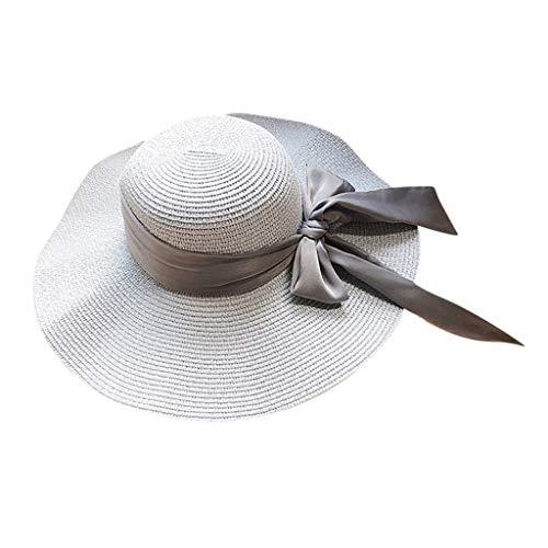 (Womens Straw Hat Wide Brim Floppy Beach Cap Adjustable Sun Hat for Women UPF 50+ Light Blue)