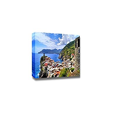 Beautiful Scenery Landscape View Over The Cinque Terre Village of Vernazza Italy from The Ancient Watchtower - Canvas Art Wall Art - 32