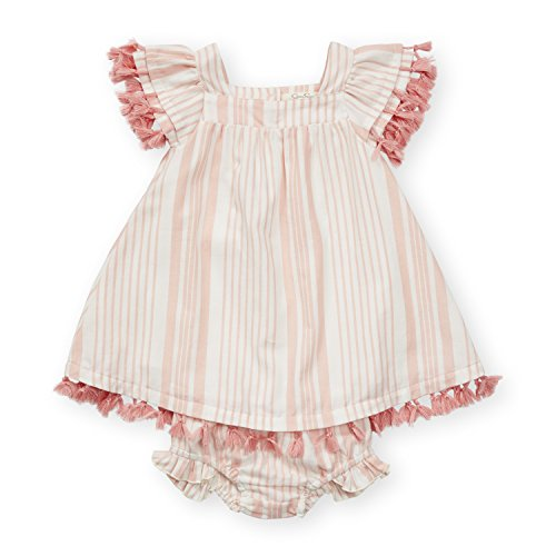 Jessica Simpson Girl's Striped A-Line Cap Sleeve Fringe Dress Matching Panties Set Blossom Resort Stripe 3 - Blossom Panty