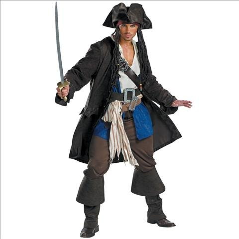 Disguise Mens Capt Jack Sparrow Prestige Premium - Adult Costume