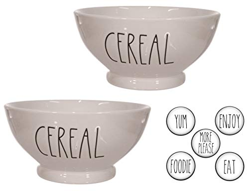 Rae Dunn CEREAL Bowls Gift Set With Coordinating Refrigerator Magnets 7 Pieces ()