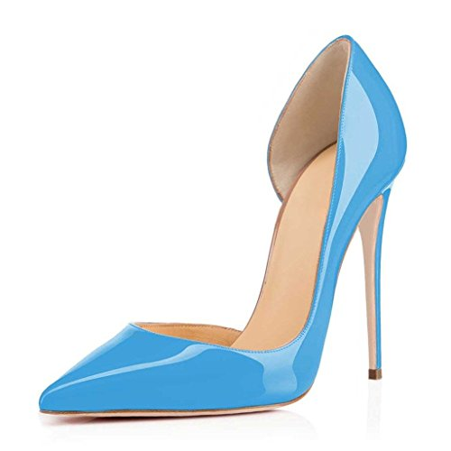 EDEFS Womens Pointed Toe High Heel Court Shoes Cut Out Pumps Sexy d'Orsay Dress Shoes 120mm Skyblue bLn51YTqN