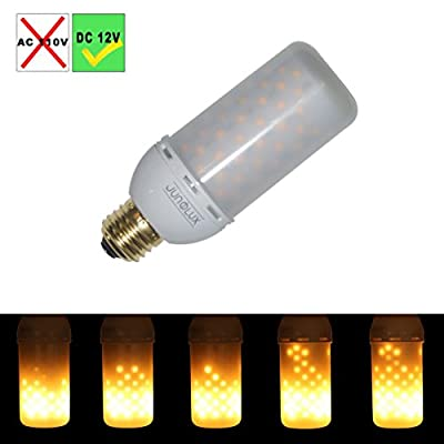 JUNOLUX 12VDC (NOT FOR 110V) Decorative LED Fire Flame Bulb Burning Light Fire Effect DC12V 4W For Solar System Emergency Outdoor Decoration,Pack of 1 (Downward)