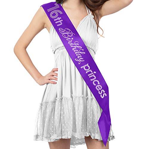 Sweet 16 Violet Party Supplies - Crystal Rhinestone 16th Birthday Princess Premium Satin Sash - 16th Birthday Decorations - Purple]()