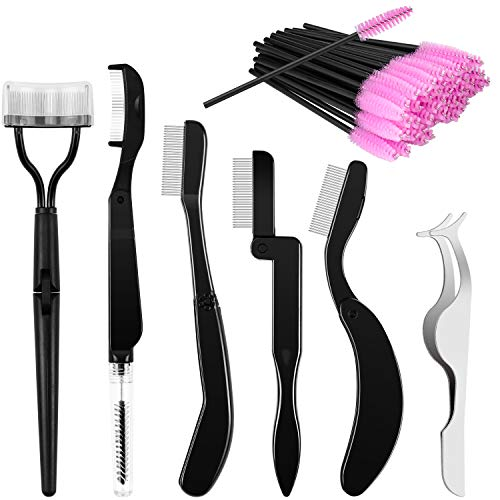Meetory 5 Pieces Folding Eyelash Separator Comb and Eyebrow Brush, 1 Piece Fake Eyelashes Applicator Tool and 50 Pieces…
