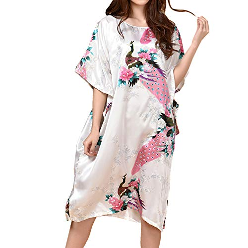 Lu's Chic Women's Satin Nightgown Silk Peacock Sleep Dress Lounge Batwing Sleeves Nightshirt White One Size fits All ()