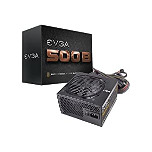 EVGA 500 B1, 80+ BRONZE 500W Power Supply, 3 Year Warranty, Includes FREE Power On Self Tester 100-B1-0500-KR