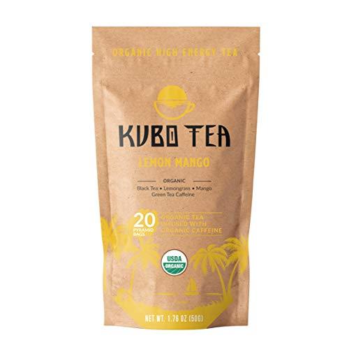 Kubo Tea, Organic High Energy, High Caffeine Blend, 20 Servings (155mg Caffeine each), Pyramid Tea Bags, Kraft Packaging…