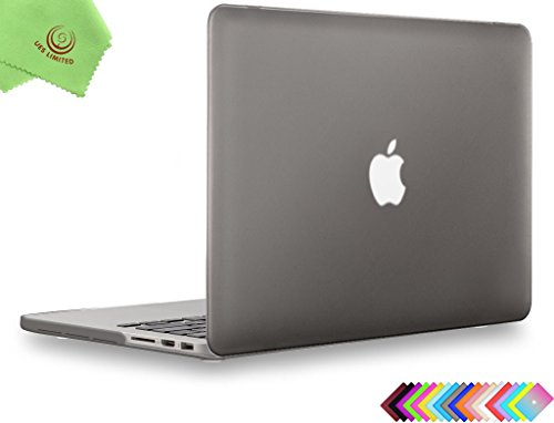 "UESWILL Smooth Soft-Touch Matte Hard Case Cover for MacBook Pro 15"" with Retina Display (NO Touch Bar,NO CD-ROM)(Model:A1398) + Microfibre Cleaning Cloth, Gray"