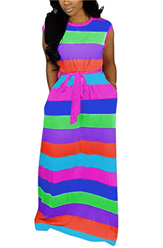 - MarcoJudy Women's Crew Neck Sleeveless Multicolor Rainbow Striped Boho Maxi Long Dress