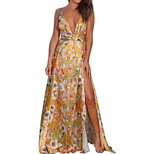 Sexy Floral Print Long Dress, QIQIU Women's Slit Fashion Halter Deep V-Neck Sleeveless High Waist Fork Summer Dress Yellow