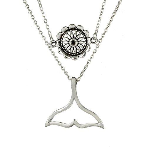 - Chrikathy Multilayer Double Fishtail Dream Catcher Flower Pendant Punk Necklace Sliver Alloy Chain