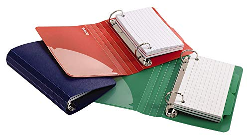 - Oxford Poly Index Card Binder, 3 x 5 Inches, Color Will Vary, 73569, Includes 50 Pre-Punched Cards
