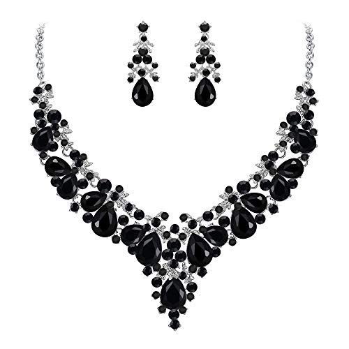 EVER FAITH Women's Crystal Bridal Banquet Floral Cluster Teardrop Necklace Earrings Set Black Silver-Tone Black Teardrop Necklace Earrings